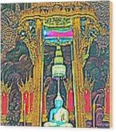 Emerald Buddha In Royal Temple At Grand Palace Of Thailand Wood Print
