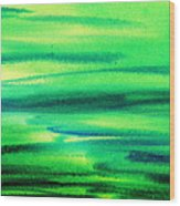 Emerald Flow Abstract I Wood Print
