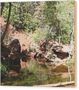 Emerald Pool Reflection Wood Print