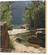 Emerald Pool View Wood Print