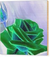 Emerald Rose Watercolor Wood Print