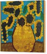 Emilie Sunflowers Wood Print