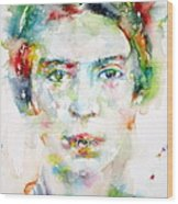 Emily Dickinson - Watercolor Portrait Wood Print