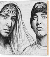 Eminem Art Drawing Sketch Poster Wood Print