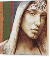 Eminem - Stylised Drawing Art Poster Wood Print