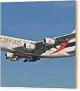 Emirates Airbus A380-861 A6-eeo Los Angeles International Airport January 19 2015 Wood Print