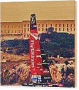 Emirates At Alcatraz Wood Print