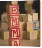 Emma - Alphabet Blocks Wood Print