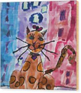 Emma's Spotted Kitty Wood Print