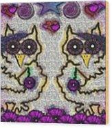 Emo Owls Wood Print