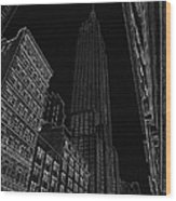 Empire Nyc White On Black Wood Print