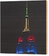 Empire State At Night Wood Print