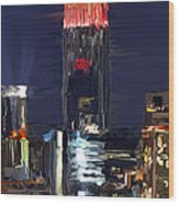 Empire State Buidling On The Water Wood Print