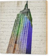 Empire State Building Wood Print by Aged Pixel