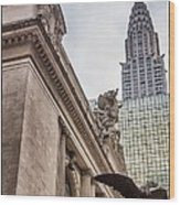 Empire State Building And Grand Central Station Dramatic Wood Print by For Ninety One Days