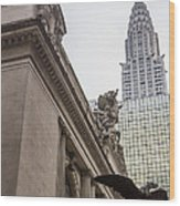 Empire State Building And Grand Central Station Wood Print by For Ninety One Days