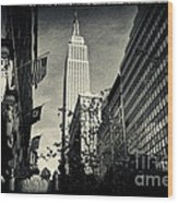 Empire State Building And Macys In New York City Wood Print by Sabine Jacobs