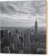 Empire State Building And Midtown Manhattan Black And White Wood Print