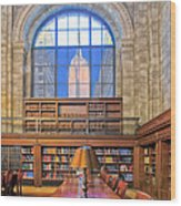 Empire State Building At The New York Public Library Wood Print