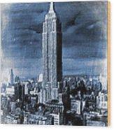 Empire State Building Blimp Docking Blue Wood Print