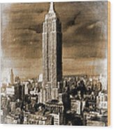 Empire State Building Blimp Docking Sepia Wood Print