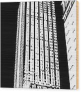 Empire State Building In Constrasting White Wood Print
