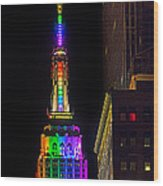 Empire State Building Lit For Gay Pride Wood Print