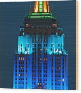 Empire State Building Lit Up At Night Wood Print