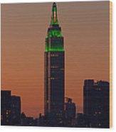 Empire State Building Saint Patricks Day Lighting I Wood Print