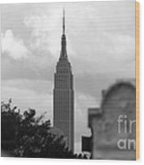 Empire State Building Seen From Calvary Cemetery In Queens Wood Print