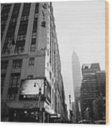 Empire State Building Shrouded In Mist As Pedestrians Crossing Crosswalk On 7th Ave New York Wood Print