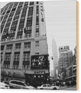 Empire State Building Shrouded In Mist As Yellow Cabs Crossing Crosswalk On 7th Ave And 34th Street Wood Print by Joe Fox