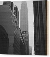 empire state building shrouded in mist in amongst dark cold buildings on 33rd Street new york city Wood Print by Joe Fox