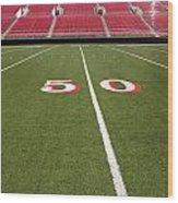 Empty American Football Stadium 50 Yard Line Wood Print