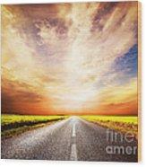Empty Asphalt Road. Sunset Sky Wood Print