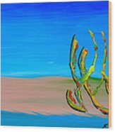 Empty Beach In Tel Aviv Abstract Seascape Wood Print