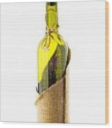 Empty Bottle With Bottle Cover Wood Print