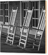 .empty Chairs. Wood Print by Lynn E Harvey