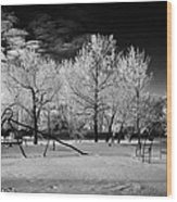 empty childrens playground with hoar frost covered trees on street in small rural village of Forget  Wood Print