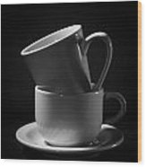 Empty Coffee Cups Wood Print