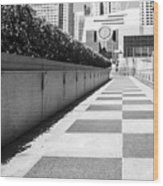 Empty Footpath Leading Towards Buildings On Sunny Day Wood Print