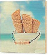 Empty Ice Cream Cones Wood Print