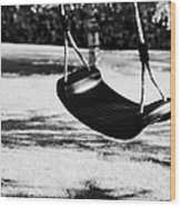 Empty Plastic Swing Swinging In A Garden In The Evening Wood Print