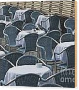 Empty Restaurant Seats And Tables Wood Print