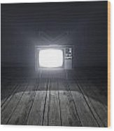 Empty Room With Illuminated Television Wood Print