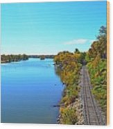 Empty Train Tracks Of Rockford On The Rock River With Fall Colors Wood Print