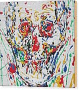 Enamels Skull Painting Wood Print