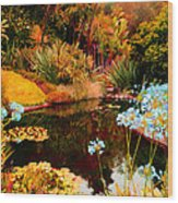 Enchaned Blue Lily Pond Wood Print