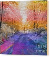 Enchanted Rainbow Forest  Wood Print