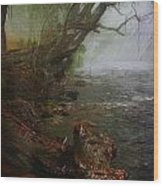 Enchanted River In The Mist Wood Print